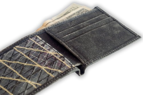 Slim Sooty Leather Wallet, MADE WITH RECYCLED KEVLAR & CARBON YACHT SAILS, from brave sailors of southernmost tip of Chile, Slim Face Pocket Bifold wallet, sailing nautical gift