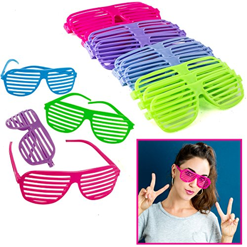 Shutter Shades - 12 Pack Neon Sunglasses - 80's Party Supplies by Funny Party - Sunglasses Plastic Cheap