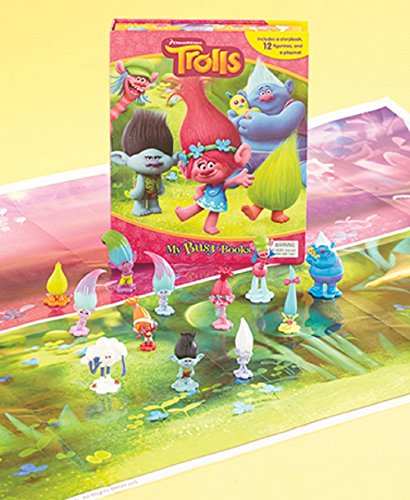 Trolls Licensed Story Book and Action Toys Figures Set