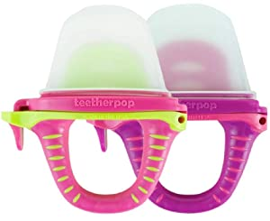 teetherpop 2 Pack Fillable, Freezable Baby Teether for Breastmilk, Purées, Water, Smoothies, Juice & More (Baby Teether is USA Made & BPA Free) (Fuschiapink/PinkLimon)