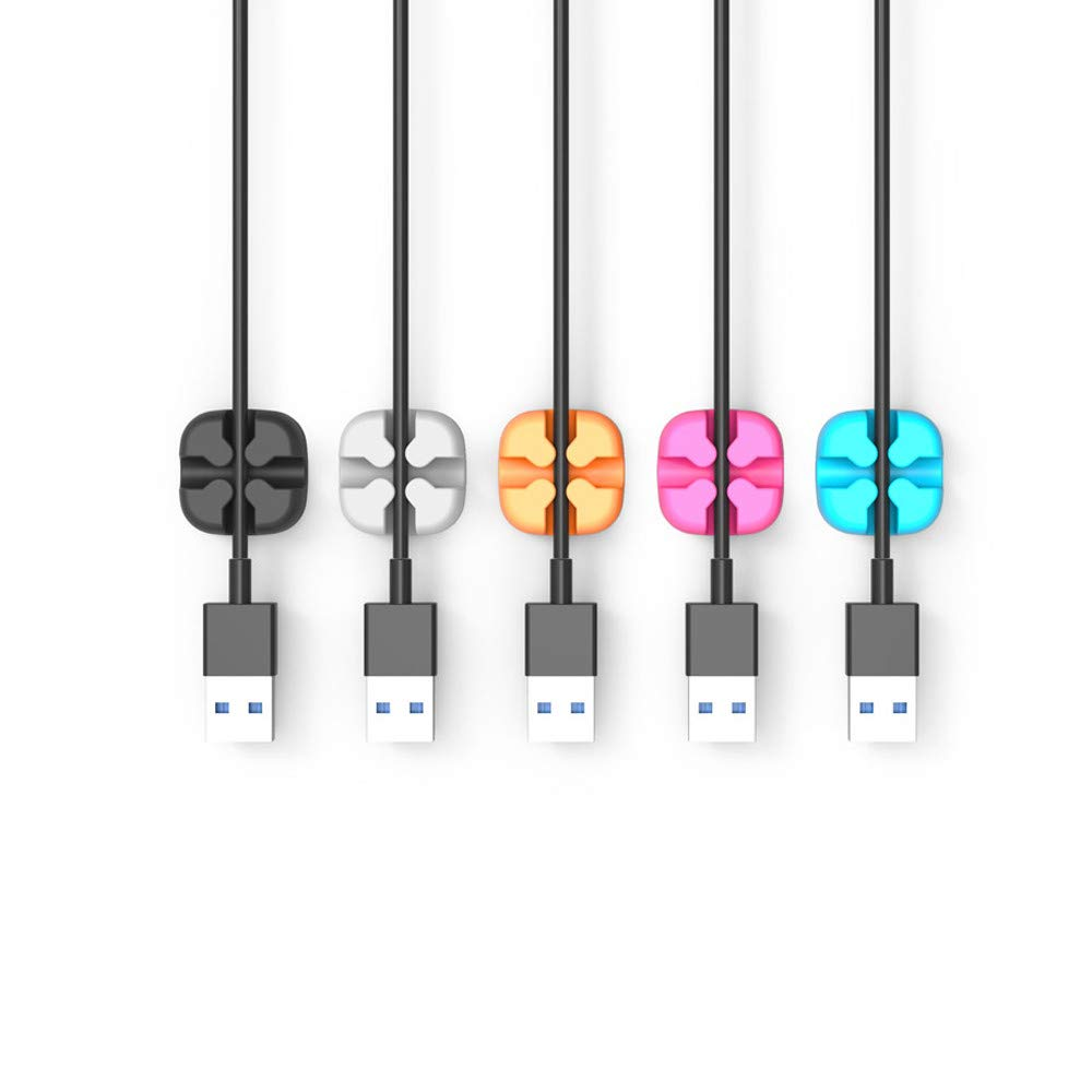 Cable Clips Cord Management Organizer Desktop Cord Holder and Cable Organizer Wire Cord Holder 5 Pcs for Power Cords/Charging Accessory Cables/Mouse Cable/PC (Multicolor)