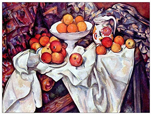 Cezanne And Oranges Apples - ArtPlaza TW92168 Cezanne Paul - Still Life with Apples and Oranges Decorative Panel 35.5x27.5 Inch Multicolored