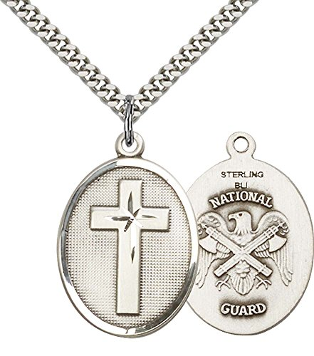 F A Dumont Sterling Silver Cross/National Guard Pendant with 24