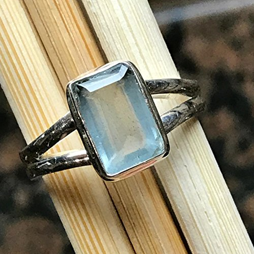 (Natural 1.5ct Aqua Blue Aquamarine 925 Solid Sterling Silver Emerald Cut Unisex Ring sz 8.75)