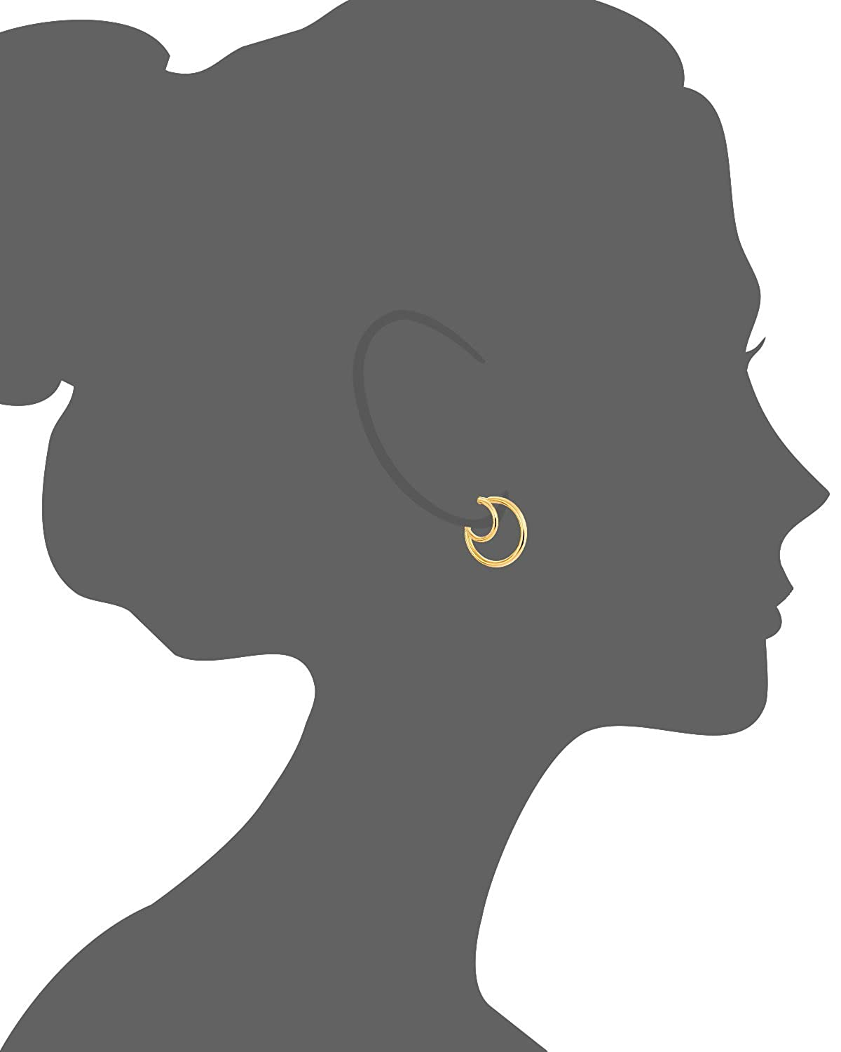 Earlusions Gold Plated Sterling Silver Double Small Hoop Illusion Earrings