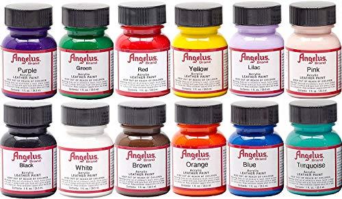 Angelus Leather Paint Set of 12 1 Oz