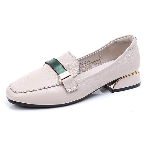 Beige Casual para Mujer Zapatos de Cuero Real Cabeza Cuadrada Mocasines de tacón Grueso Elegantes y cómodos Zapatos Planos Antideslizantes Usable Zapatos de ...