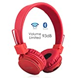 Volume Limited + Wireless Bluetooth Kids Headphones, Termichy wireless/wired Foldable Stereo over-Ear headsets with music share port and Built-in Microphone for calling, children Bluetooth Earphones for smartphones PC music gaming. Red