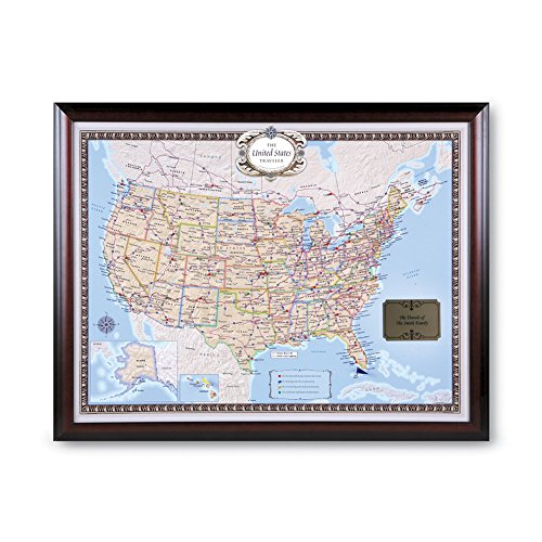 Jessen Media Personalized USA Traveler Framed Map Set with Pins - Custom Engraved Crest Up to 50 Characters -