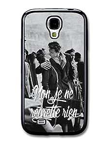 Non Je ne Regrette Rien, Piaf France Paris Kiss Black and White Inspirational Retro carcasa de Samsung Galaxy S4