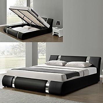 Meubler Design Lit Coffre Sommier Relevable Nova Noir 140x190