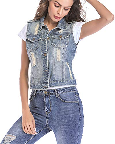 Jacket Lightblue Chest Aden Slim Pockets Two Fit Women's Denim Breasted Single with Flap Vest Ripped Uq8a46wxU