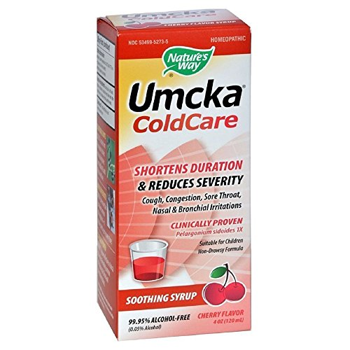 Umcka Cold Care Syrup - Nature's Way Umcka Cold Care Soothing Syrup, Cherry Flavor 4 oz (Pack of 3)