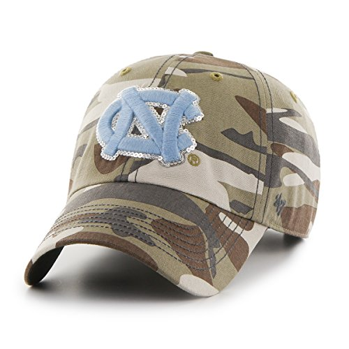 Camo Sparkle ('47 NCAA North Carolina Tar Heels Women's Sparkle Camo Clean Up Adjustable Hat, One Size, Faded Camo)