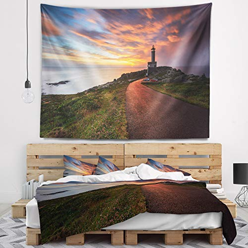 Designart TAP9453-39-32 'Punta Nariga Lighthouse Spain' Seashore Photo Tapestry Blanket Décor Wall Art for Home and Office, Medium: 39 in. x 32 in. by Designart