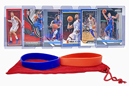 Detroit Pistons Basketball Cards: Blake Griffin, Andre Drummond, Reggie Jackson, Reggie Bullock, Luke Kennard, Ish Smith ASSORTED Basketball Trading Card and Wristbands Bundle