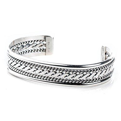 TSKIES Navajo Handmade Twisted Shank Sterling Silver Bracelet by Verna Tahe 6.5 Wrist Turquoise Skies