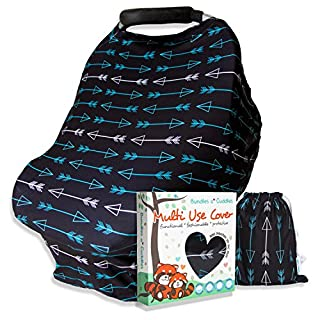 Nursing Cover Carseat Canopy - Multi-Use Soft Stretchy Car Seat Covers for Babies - Nursing Scarf, Breastfeeding Cover, High Chair Shopping Cart Cover - Girl or Baby Boy Gift Set (Black-Teal Arrows)