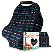 Carseat Canopy Nursing Cover for Breastfeeding, Soft Stretchy Multi Use - Easily Covers Baby Car Seat, High Chair, Shopping Cart, Infant Stroller for Boys or Girls - Gift Set w Free Bag (Black-Arrows)