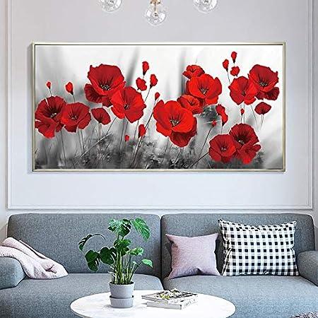KWzEQ Cartel Moderno de la Flor Pintura Sala de Estar decoración del hogar Flor de Amapola roja Imagen de la Pared Arte,Pintura sin Marco,75x150cm