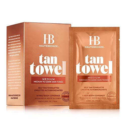 Tan Towels - Medium - Dark Skin Tones - Self Tanning Wipes - Half-Body 10 pack - Sunless Tanning Towelettes Provide a Streak-Free Flawless Application