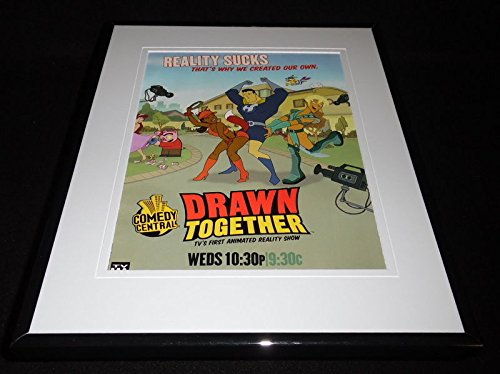 Drawn Together 2004 Framed 11x14 Advertisement Comedy Central Adam Carolla (Best Of Drawn Together)