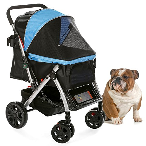 Cheap HPZ PET Rover Premium Heavy Duty Dog/Cat/Pet Stroller Travel Carriage with Convertible Compartment/Zipperless Entry/Reversible Handlebar/Pump-Free Rubber Tires for Small, Medium and Large Pets (Blue)
