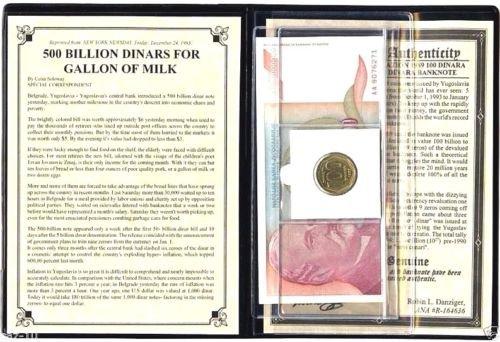 National Banknotes (Biggest Europian banknote 500 billion dinars Yugoslavia inflation VG-XF)