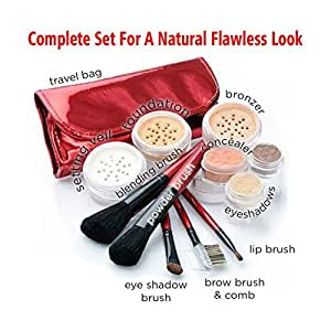 """""""DARK"""" Natural Makeup, IQ Natural Large Mineral Makeup Kit 12pc (DARK shade) - Concealer, Bronzer, Eye Shadow, Setting Powder, 2 Full Size Mineral Foundation - Create A Natural Flawless Look"""