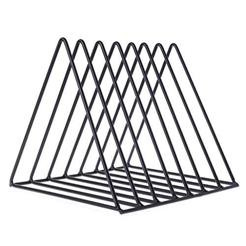 BecauseOf Triangle Book Organizer, 7 Sections Book Holder Storage Rack Bookend Desktop Decoration (Black)