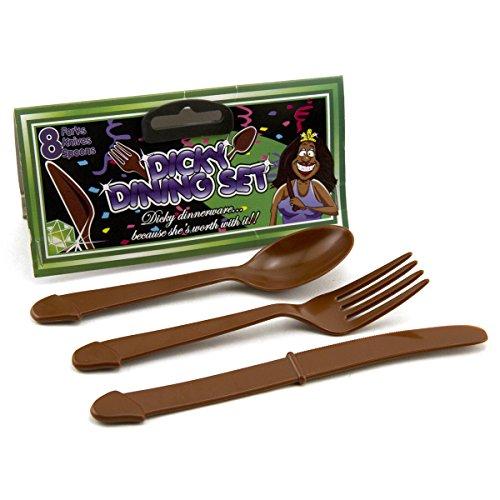 African American Penis Utensils - 8 Penis Forks, 8 Penis Spoons, 8 Penis Knives - Black
