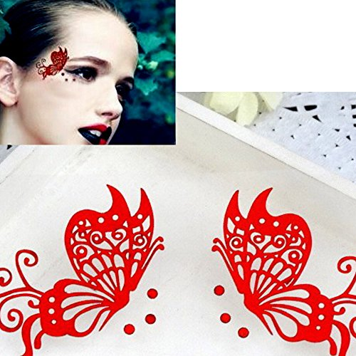 Eyelashes,Han Shi Women Fashion Creative Soft Butterfly Eye Stickers Cosmetic False Eye Lashes (A, Red) (Butterfly Makeup)