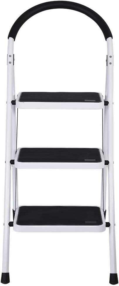 Safety Anti-Slip and Wide Pedal Sturdy Steel Ladder 330lbs Portable White and Black Combo Stepladder White FunDiscount 3 Step Ladder Folding Step Stool with Handgrip 43.3 x 25.2 x 18.5 inches