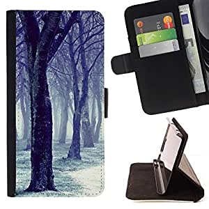 For Samsung Galaxy S5 Mini (Not S5), SM-G800 Case , Forêt Blanche - la tarjeta de Crédito Slots PU Funda de cuero Monedero caso cubierta de piel