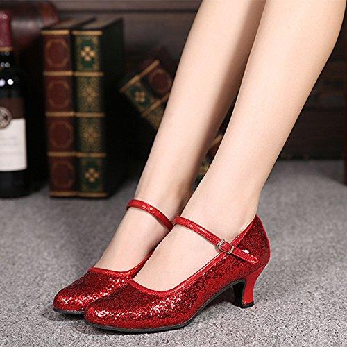 Glitzer ZEVONDA Schuhe Damen Ballroom Salsa Tanzschuhe Latein Rot Rumba Funkelnde Tango 1aqrax5w