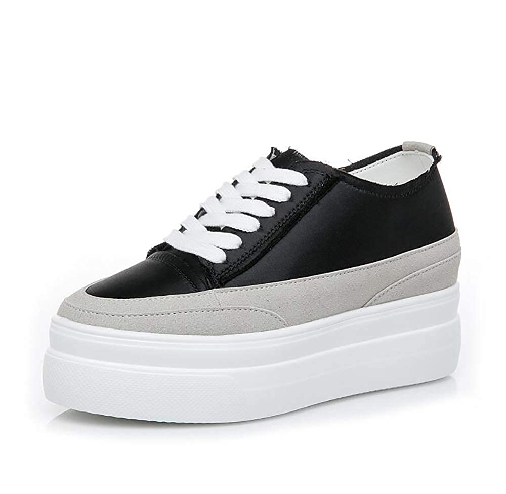 Weiße Schuhe Frauen Dicke Kruste Keile innen erhöht Sport Dicke Bodenschuhe Schuhe