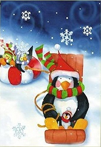 ART INTERNATIONAL Penguin Winter Sledding Snow Day Garden Flag, 12