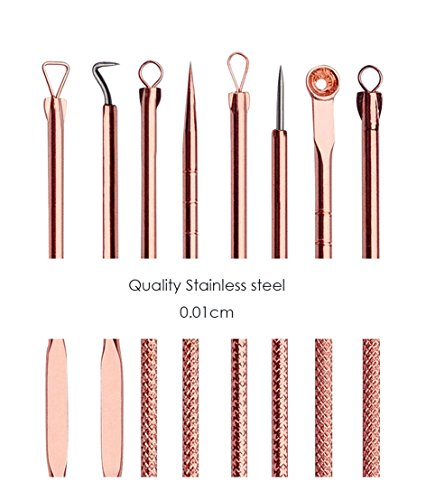 Rose Gold Blackhead Whitehead Pimple Comedone 4 piece Extraction/Extractor Kit & Removal tool for Acne