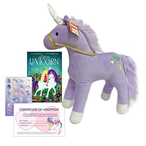(Gund Unicorn Stuffed Animal Purple Plush Bundled with Uni The Unicorn Board Book Custom Adoption Birth Certificate and Little Pony Stickers)