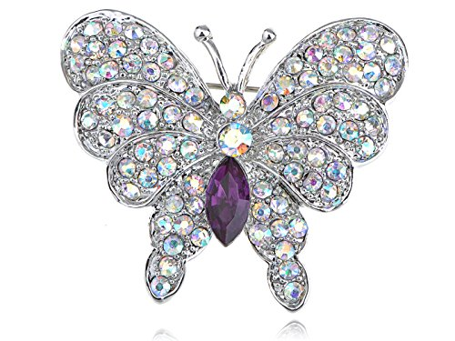 Alilang Womens Silvery Tone Iridescent Rhinestones Butterfly Insect Brooch Pin