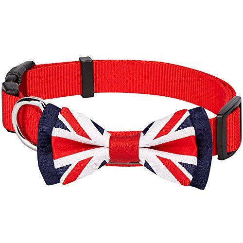 - Blueberry Pet National Pride UK Flag Bowtie Red Dog Collar - Handmade UK Bow Tie w/Jacquard Weave Fabric, Small, Neck 12