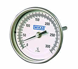 WIKA TI.33 Stainless Steel 304 Industrial Grade Non Resettable Bi-Metal Thermometer, 3\
