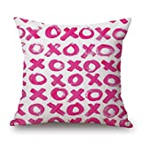 Happy Valentine's Day Pillow Cover - Love Red Lips Printing Throw Pillow Case Sweet Love Square Cushion Cover 18''x18'' (A)