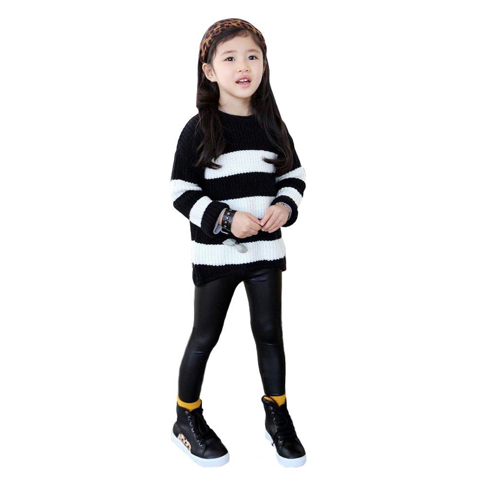Romacci Nouveaux Enfants Filles Leggings Extensible PU Faux Cuir Taille Elastique Skinny Pants Pantalon Noir