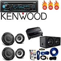 Kenwood KDC-BT368U CD/MP3 Player Built-in Bluetooth 6.5 6-1/2 in 2-Way Flush Mount Car Speaker 4 Gauge AMP Kit Car audio Amplifier And Subwoofer Package Dual 12-Inch, 3/4-Inch MDF Sealed Enclosure