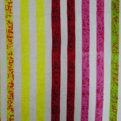 Striped Pattern Cotton Voile Fabric Designer White Drape Dress Width 41