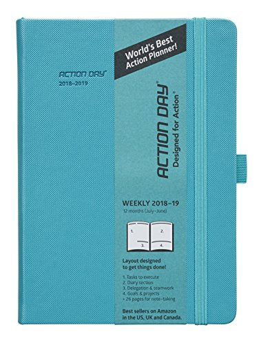Clearance Sale - Action Day Academic Planner - JUL 2018 - JUN 2019 - #1 Time Management Planner & You Get Things Done - All Your Thoughts,Goals & Actions in One Place (6x8,Thread-Bound,Turqoise)