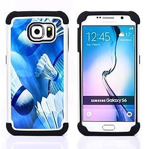 /Skull Market/ - Badminton Sport For Samsung Galaxy S6 G9200 - 3in1 h????brido prueba de choques de impacto resistente goma Combo pesada cubierta de la caja protec -