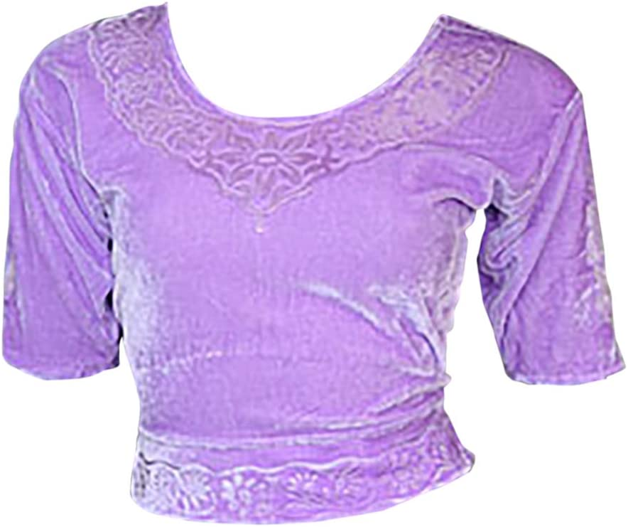 Trendofindia Lila Terciopelo Top Blusa Choli para Bollywood Sari Talla XL: Amazon.es: Deportes y aire libre