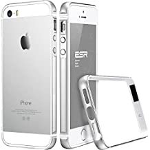 iPhone 5/5S Case, ESR Fluencia Series Strengthened Protective Metal Trim[Shock Absorbent] [Ultra Thin][LightWeight] [Scratch-Resistant] for iPhone 5/5S [Free HD Clear Screen Protector](Silver)